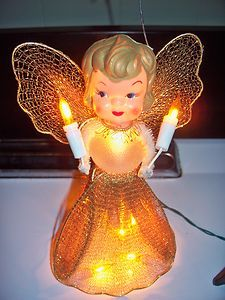 Vintage 50u0027s Lighted Angel Christmas Tree Topper Sheu0027s Beautiful....and  Somehow