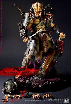 Alien VS Predator Alien vs Predator : Samurai Predator Sixth Scale Figure by Hot Toys Diorama, Predator Cosplay, Nerd Art, Alien Vs Predator, Custom Action Figures, Cool Pictures, Samurai, Collection, Action Toys