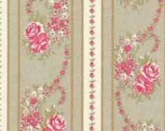 Your place to buy and sell all things handmade Shabby Fabrics, Beige, Floral Stripe, Red Roses, Etsy, Textiles, Fancy, Grande, Prints
