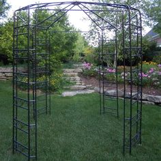 Here's another uniquely styled garden gazebo designed to accent the look of your yard with elegant iron construction. Something like this would be perfect for growing roses on. Patio Gazebo, Garden Gazebo, Pergola Plans, Pergola Kits, Backyard Landscaping, Pergola Ideas, Patio Ideas, Backyard Ideas, Cheap Pergola