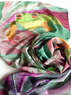 "Купить Шарф-палантин ""В ожидании"" батик, шелк крепдешин - лягушка, лягушки, лягушонок, зеленый"