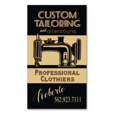 Sewing: Tailor, Dressmaker, Designer, Seamstress Business Card Template