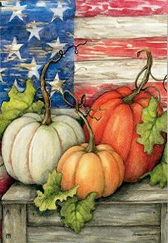 Patriotic Pumpkins Garden Flag from Just for Fun Flags. Patriotic Pumpkins garden flag by artist Susan Winget for Breeze Art . The american pride design is visible from both sides of the flag. Garden size mini flag is Wide x Long. Fall Garden Flag, Autumn Garden, Garden Flags, Autumn House, Pumpkin Garden, Pumpkin Art, Pumpkin Canvas, Autumn Painting, Autumn Art
