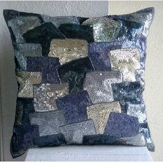 Decorative Throw Pillow Covers 20x20 Grey Silver Silk Embroidered Accent Pillows Toss Sofa Couch Pillows Bed Pillow Cases Glamorous Blocks
