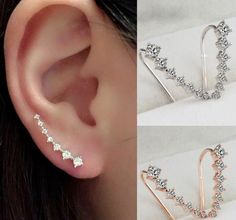 GOLD & SILVER RHINESTONE CRYSTAL PIERCING EARRINGS