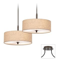 Possini Euro Tiger Bronze Cream Drum 2-Light Pendant