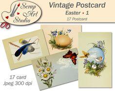 Easter Printable vintage art postcard eggs flower spring decor unusual gift congratulation watercolour art printable card vintage design
