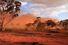 Red dust storm in Australian Outback, Mukinbudin Western Australia Western Australia, Australia Travel, Marrakesh, Casablanca, Australia Landscape, Dust Storm, Banners, Australian Bush, Strand