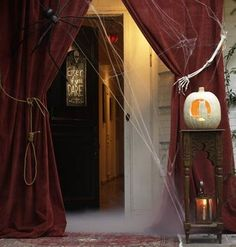 Use a noose or skeleton arms as drapery tiebacks for the entrance of a haunted house, or even just to creep out trick-or-treaters!