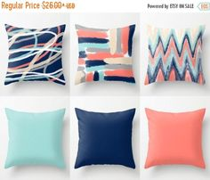SALE 24 HOUR Throw Pillow Covers Coral Navy Aqua by HLBhomedesigns