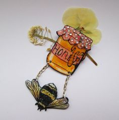 Yummy Honey Bumble Bee And Honey Jar Brooch. by PopCornCute