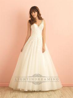 V-neck A-line Lace Wedding Dress with Deep V-back