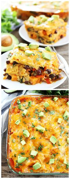 Stacked Sweet Potato and Black Bean Enchiladas Recipe on twopeasandtheirpod.com These easy enchilada casserole is the perfect weeknight meal. It is so easy and so good! Plus, it freezes well!