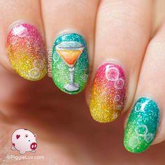PiggieLuv: Birthday cocktail nail art