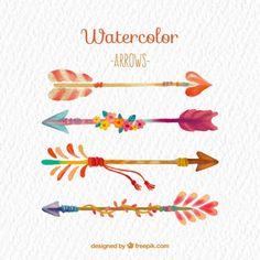 Colorful watercolor arrows