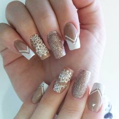 Brownish beige with nail design for fall