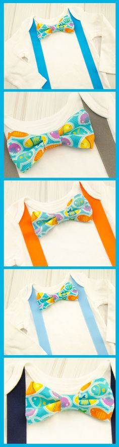 Just adorable! Little boys bow ties with little fish!