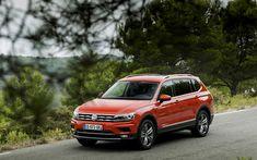 Download wallpapers Volkswagen Tiguan, Allspace, 2018, exterior, new cars, crossover, new orange Tiguan, front view, German cars, Volkswagen