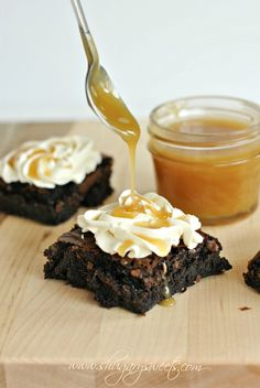 Recipe for Dark Chocolate Brownies with Salted Caramel Frosting and Homemade Caramel Sauce