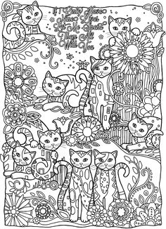 Free coloring page coloring-adult-cats-cutes. Cute cats, just missing for colors