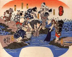 <そめいろづくし:SOMEIROZUKUSHI> DYEING BY ANIMAL KUNIYOSHI UTAGAWA 1798-1861 Last of Edo Period