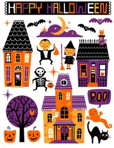 Sweet retro Halloween poster - Halloween decoration for kids wit town, ghost pumpkin and cat Art Halloween, Halloween Tutorial, Halloween Poster, Halloween Crafts For Kids, Halloween Cards, Holidays Halloween, Vintage Halloween, Happy Halloween, Halloween Decorations