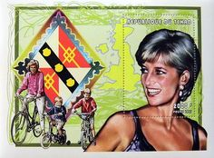 Princess Diana Family Commemorative Stamp Sheet Issued by Chad, Diana - Princess of Wales 1961 - 1997.