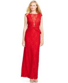Lauren Ralph Lauren Lace Popover Gown
