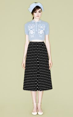 Sabrina Poodle Shirt and Polka Dot Skirt by Vivetta for Preorder on Moda Operandi