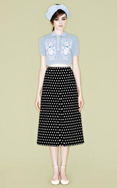 Sabrina Poodle Shirt and Polka Dot Skirt by Vivetta for Preorder on Moda Operandi