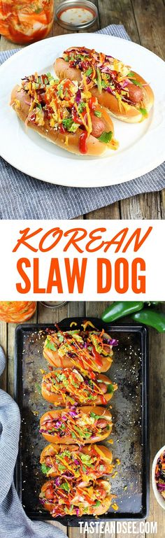 Korean Slaw Dogs: all-beef hot dogs loaded with Korean BBQ sauces, spicy kimchi, & sweet/tangy slaw, topped with kickin' ketchup & mustard. Asian fusion in a bun! #hotdog http://tasteandsee.com