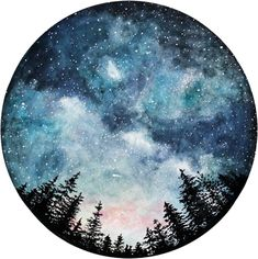 Watercolor Art Print Starry Sky Forest Art Circle Art Home Watercolor Night Sky, Watercolor Circles, Watercolor Galaxy, Galaxy Painting, Galaxy Art, Watercolor Paintings, Space Watercolor, Space Painting, Watercolor Tattoos