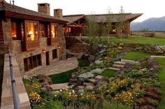 Dream house what an amazing home. This really captured the essence of old school, but still stays funky and beautiful. I think anybody would. Future House, My House, Landscape Stairs, Luxury Cabin, Cozy Cabin, Stone Houses, Wood Houses, Concept Home, Log Homes