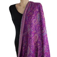 Purple Paisley Pashmina scarf shawl