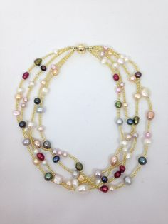 Multi Strand Beaded Necklace Made Of Multicolor Mixed Pearls
