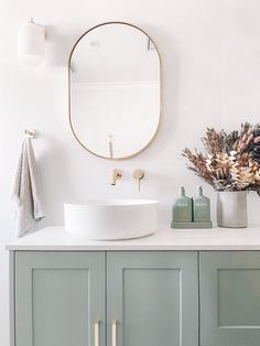 Dare to add colour into the bathroom.⁠..⁠ ⁠ Committing to colour in a bathroom is often evaded, with bolder hues making their debut merely through accessories and smaller hardware. ⁠ ⁠ This beautiful vanity makes a lasting visual impact; inviting life and a unique touch of style into the room.⁠⁠⁠ ⁠ ⁠