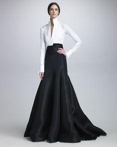 Donna Karan Long Gazar Evening Skirt