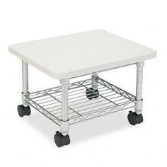 NEW - Underdesk Printer/Fax Stand, 1-Shelf, 19w x 16d x 13-1/2h, Gray - 5206GR by Safco. $84.19. 317. Large surface provides ample space for most printers and fax machines. Sturdy steel wire shelf is ideal for storing extra paper or supplies. Low profile design allows storing under desk when not in use. Color: Gray; Caster/Glide/Wheel: Four Casters (2 Locking).