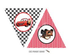 INSTANT DOWNLOAD - Printable CARS Themed Happy Birthday Banner - Triangle…