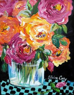 Still Life Original Painting Roses 11 x 14 Art by ElainesHeartsong