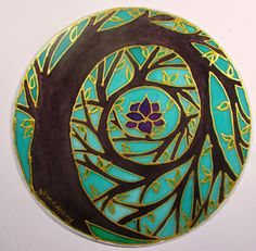 Tree of Enlightenment Mandala art tree of door HeavenOnEarthSilks