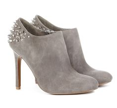 Grey Suede Edgy Spiked Ankle Boot Heels *LOVE*  #shoes #boot #ladies #footwear #bootie