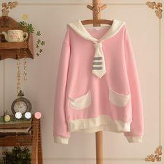 Kawaii navy collar fleece pullover