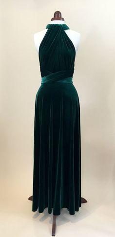 Green velvet dress infinity dress bridesmaid dress by Valdenize