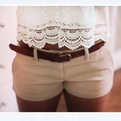 #khaki #shorts with a #lace top; casual but still looks like you put in some effort! Perfect for the summer and spring