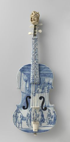 Delft Violin - scene of Jester at Royal Court, with Jester's head fret detail.