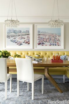A kitchen banquette covered in faux leather, Kravet's Reva, seats formal and informal dinners alike.