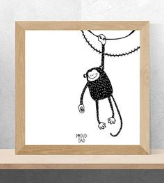 Cute Monkey children illustration / black and white animals drawing for kids / monochrome art for nursery room by Proud Dad
