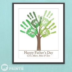Fathers Day Last Minute Printable Gift – DIY Childs Handprint Tree – Editable Printable pdf – Kids craft project – Tree Art Project - Adorable Tutorial and Ideas Kids Crafts, Crafts To Do, Craft Projects, Baby Art Crafts, Canvas Crafts, Fathers Day Crafts, Happy Fathers Day, Holiday Fun, Holiday Crafts