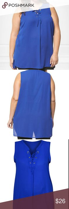 Plus Size Sleevless Top NWT boutique lace up sleevless top in blue. Great underneath a cardigan or blazer. Size 2x. Retail $64 Tops